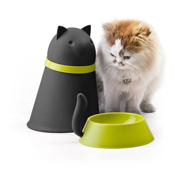 Miska so zásobníkom pre mačky QUALY Kitt, čierna