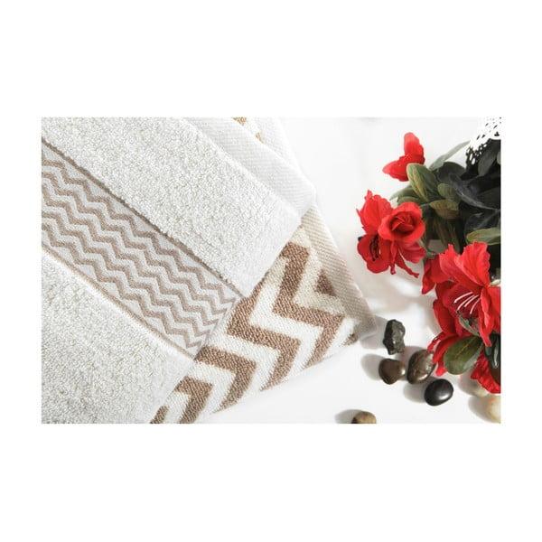 Sada 2 bavlnených hnedo-bielych uterákov Ladik Ella, 50 x 90 cm