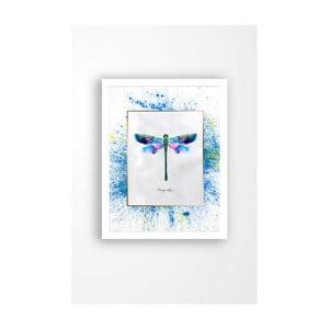 Nástenný obraz na plátne v bielom ráme Tablo Center Dragonfly, 29 × 24 cm