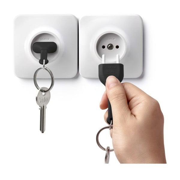 Zásuvka s kľúčenkou QUALY Unplug, čierna