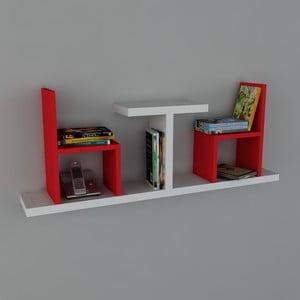 Polica Sense Book White/Red, 22x110x43 cm