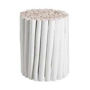 Biely odkladací stolík z teakového dreva Tropicho