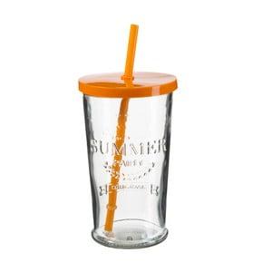 Sada 4 pohárikov s oranžovým viečkom a slamkou SUMMER FUN II, 500ml