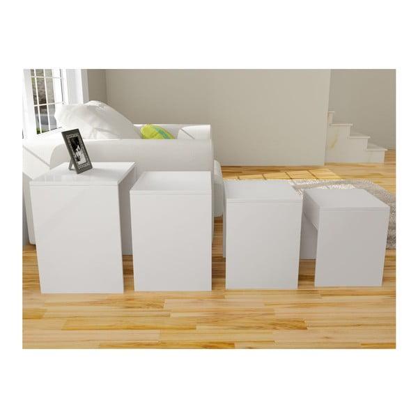 Sada 4 stolíkov Bonsai White