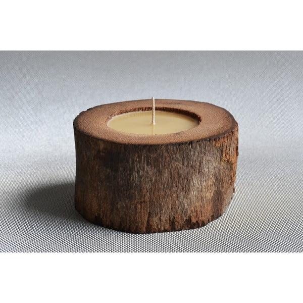 Palmová sviečka Legno so včelím voskom, 40 hodín horenia