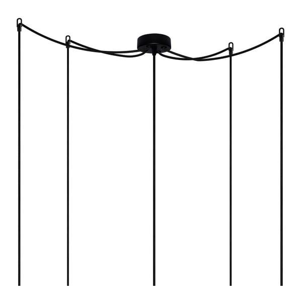 Závesné svietidlo s 5 čiernymi káblami a zlatou objímkou Bulb Attack Cero