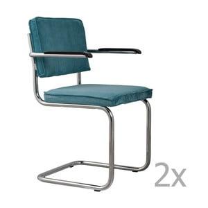 Sada 2 modrých stoličiek s opierkami Zuiver Ridge Rib