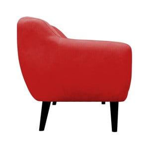 Červená pohovka pre troch Mazzini Sofas Toscane, čierne nohy
