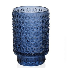 Modrý sklenený svietnik Andrea House Azuro, 8,5x13cm