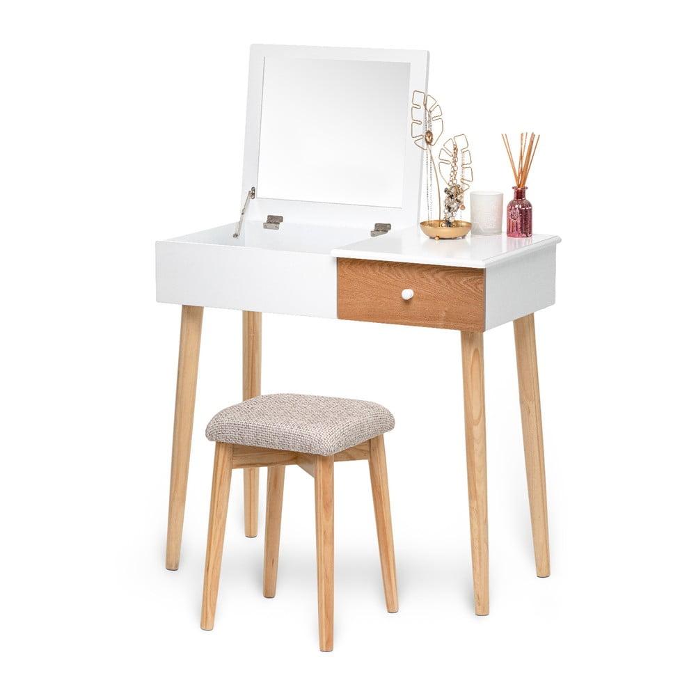 Biely toaletný stolík so zrkadlom, šperkovnicou a zásuvkou Chez Ro Beauty