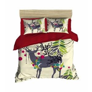 Sada obliečky a plachty na dvojposteľ Christmas Reindeer, 200 x 220 cm