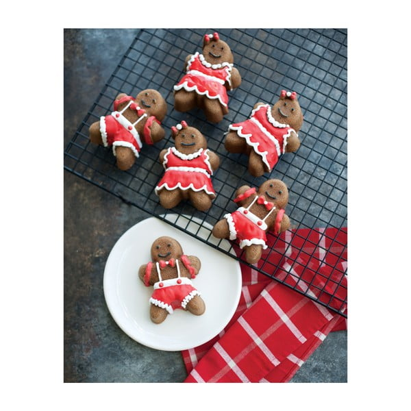 Forma na 6 minibáboviek v striebornej farbe Nordic Ware Dievčatko a chlapček, 1,1 l
