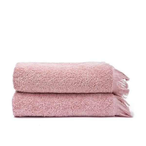 Sada 2 ružových bavlnených uterákov Casa Di Bassi Face, 50x90cm
