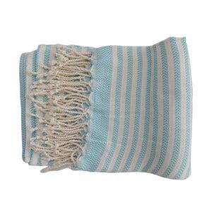 Tyrkysovo-biela ručne tkaná osuška z prémiovej bavlny Safir, 100×180 cm