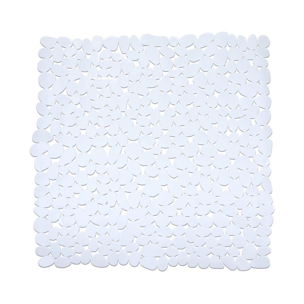 Biela protišmyková kúpeľňová podložka Wenko Drop, 54 × 54 cm