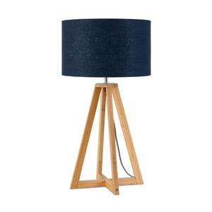 Stolová lampa s modrým tienidlom a konštrukciou z bambusu Good&Mojo Everest