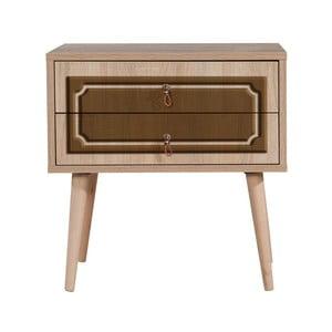 Nočný stolík s 2 zásuvkami Two Brown Classic, 40×60 cm