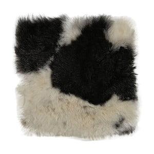 Čiernobiely kožušinový podsedák s krátkym vlasom Arctic Fur Spotted, 37 × 37 cm
