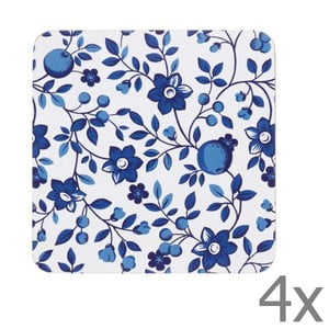 Sada 4 podtácok Kitchen Craft Blue Flower, 10 x 10 cm