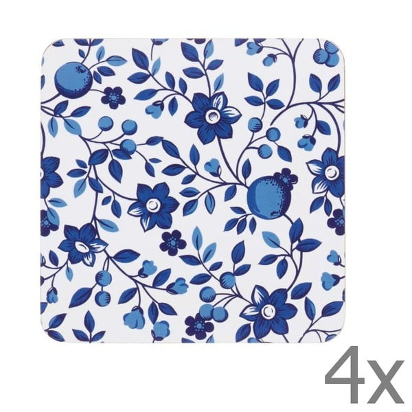 Sada 4 podtácok Kitchen Craft Blue Flower, 10 x 10 cm