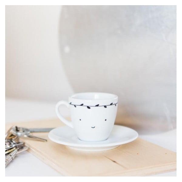 Hrnček na espresso s tanierikom Smiling with Black Leaves, 100 ml