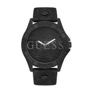 Pánske hodinky s remienkom z pravej kože v čiernej farbe Guess W1241G1