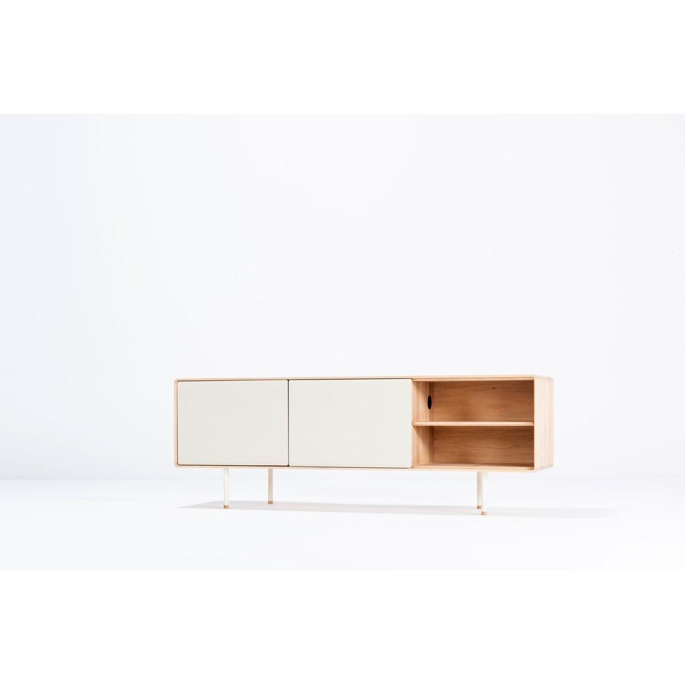 Biely TV stolík z dubového dreva Gazzda Mushroom, šírka 180 cm