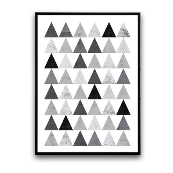 Plagát v drevenom ráme Grey triangles, 38x28 cm