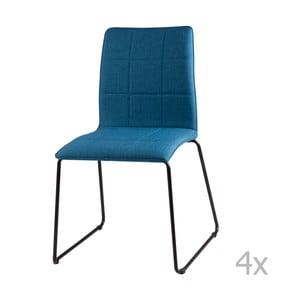 Sada 4 tmavomodrých jedálenských stoličiek sømcasa Malina