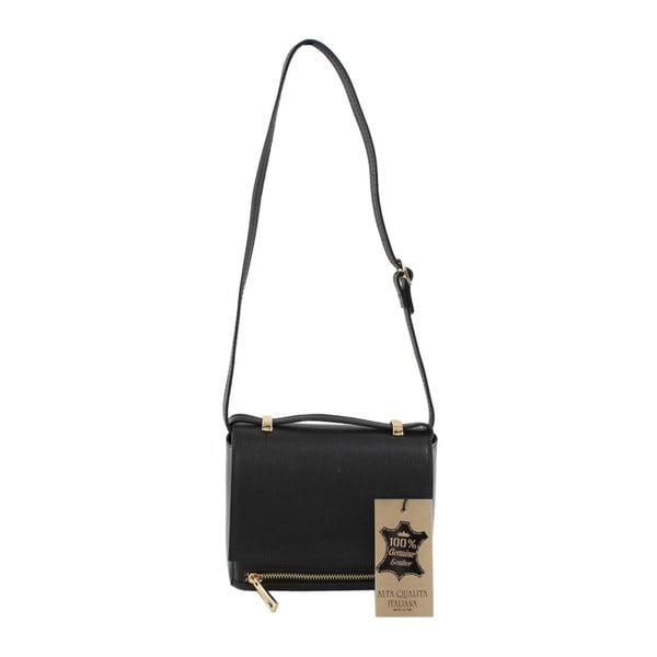 Čierna kožená kabelka Chicca Borse Polly