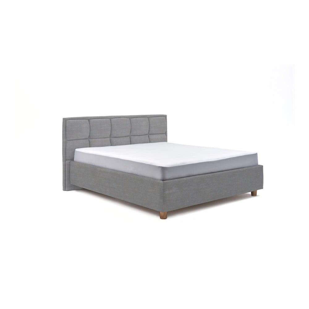 Svetlomodrá dvojlôžková posteľ s úložným priestorom PreSpánok Karme, 160 x 200 cm