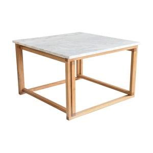 Konferenčný stolík s dreveným podnožím a bielou mramorovou doskou RGE Accent
