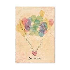 Plagát Free Love, 30x42 cm