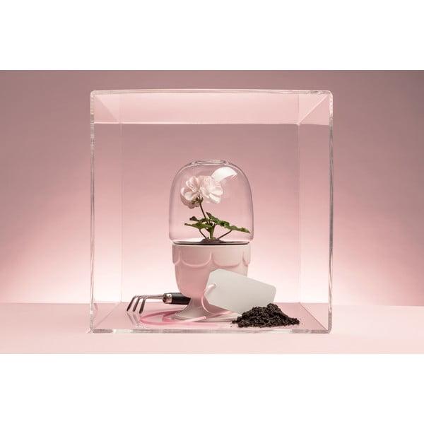 Kvetináč s poklopom Sagaform Greenhouse, svetlo ružový