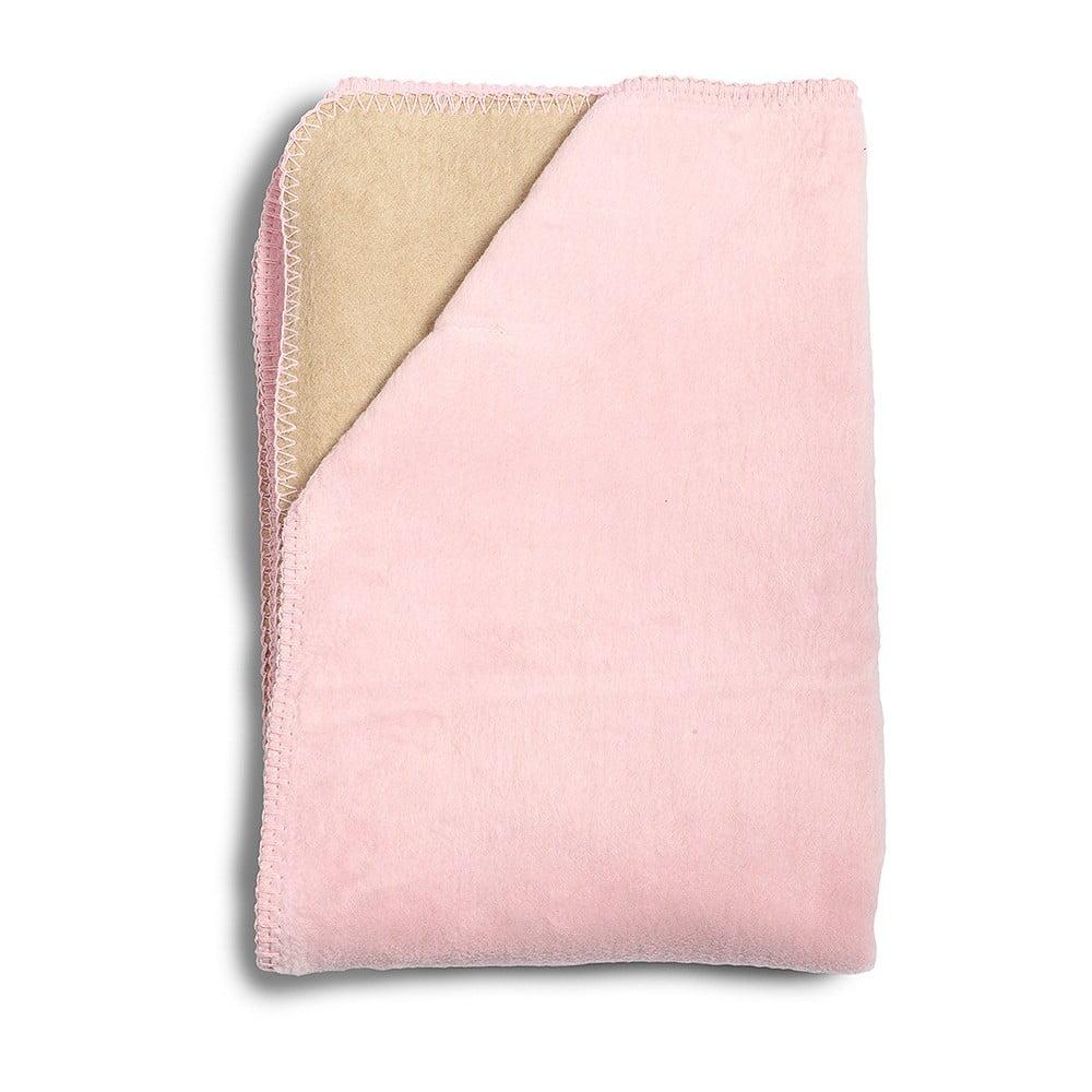 Detská ružová deka z mäkučkej bavlny YappyKids Sense, 75 × 100 cm