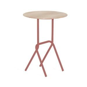 Odkladací stolík s ružovou kovovou konštrukciou HARTÔ Désiré, ⌀40cm