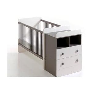 Detská bielo-hnedá variabilná posteľ s úložnou zásuvkou a komodou BEBE Provence Combo