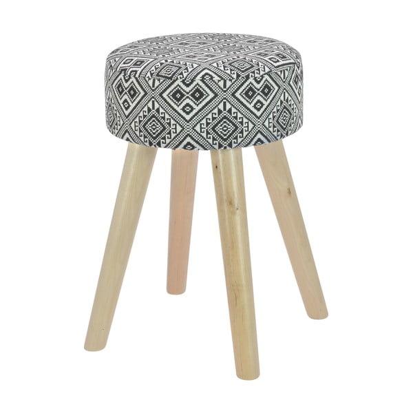 Drevená stolička s látkovým poťahom Squares Black & White