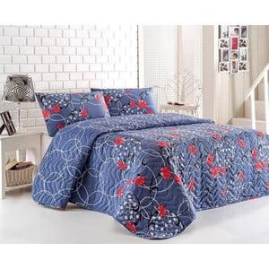 Sada prešívanej prikrývky na posteľ a dvoch vankúšov Blue Red, 200x220 cm