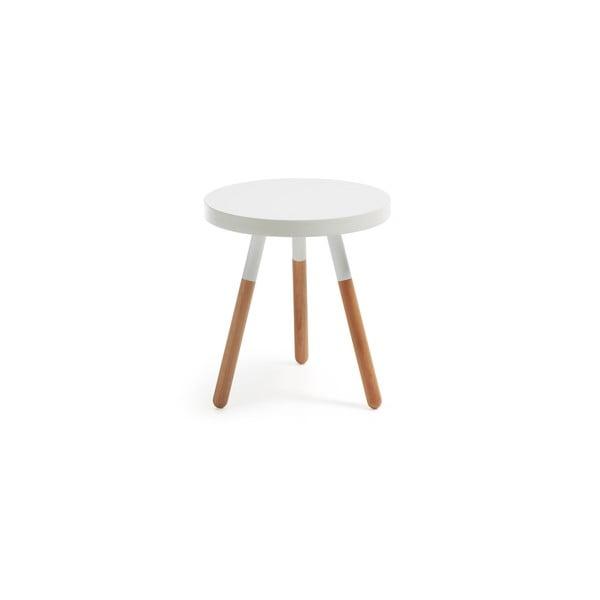Biely drevený odkladací stolík La Forma Brick, ⌀50cm