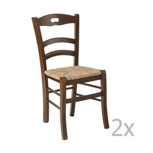 Sada 2 tmavých drevených jedálenských stoličiek Castagnetti Lavagna