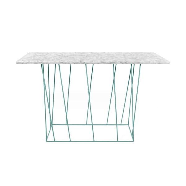 Biely mramorový konzolový stolík so zelenými nohami TemaHome Helix