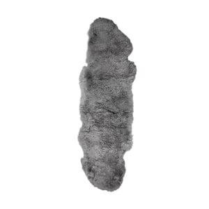 Sivý kožušinový koberec s krátkým vlasom Dara, 165 x 55 cm