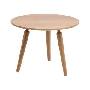 Prírodný konferenčný stolík z dubového dreva Folke Cappuccino, výška 45 cm × ∅ 60 cm