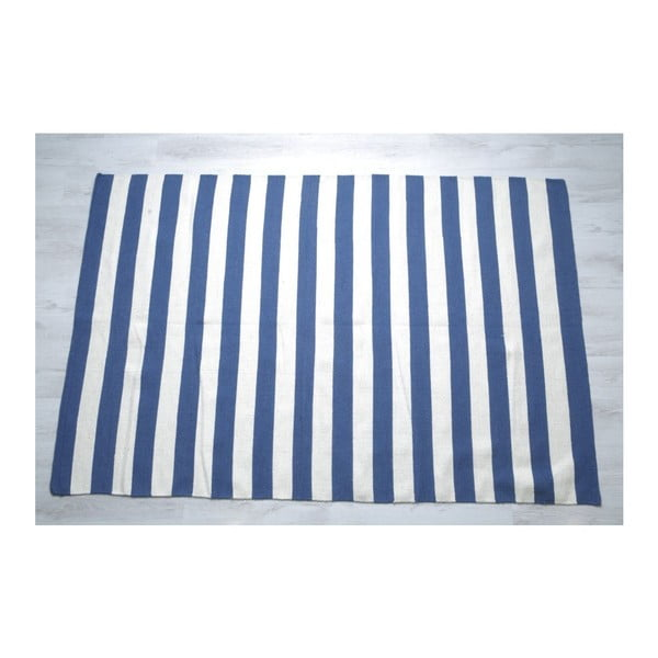 Vlnený koberec Geometry Stripes Blue & White, 160x230 cm
