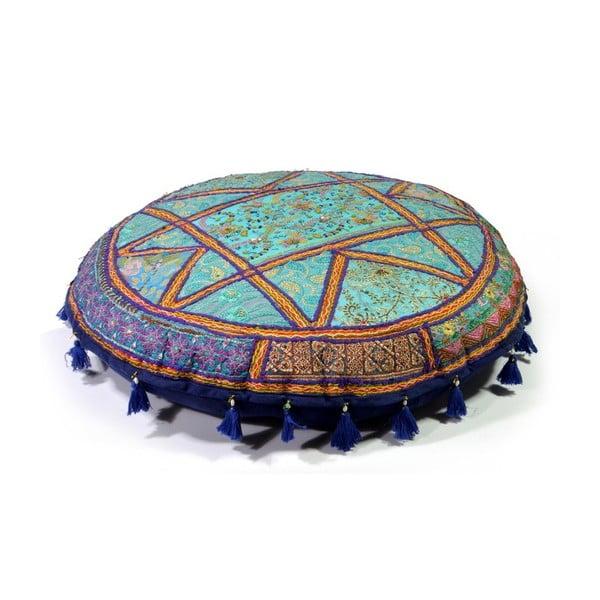 Ručne vyšívaný meditačný vankúš Rajastan, modrý