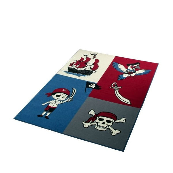 Detský červeno-modrý koberec Hanse Home Pirate, 140×200 cm