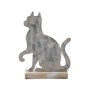 Malá sivá kovová dekorácia na drevenom podstavci s motívom mačky Ego Dekor, 15×19,5 cm