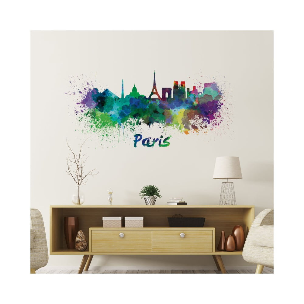 Nástenná samolepka Ambiance Wall Decal Paris Design Watercolor, 60 × 125 cm