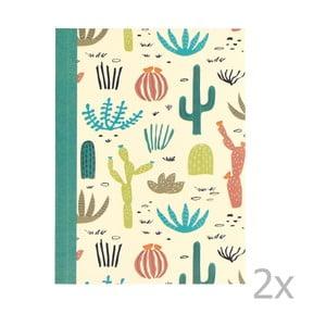 Sada 2 linajkových zošitov s potlačou kaktusov Rex London Desert in Bloom